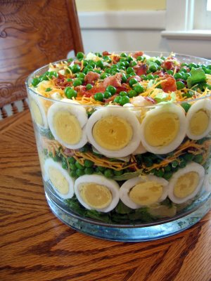 layered salad  with peas